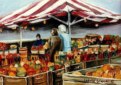 Fruit Stand Painting - Atwater Market Montreal Street Scene by Carole Spandau