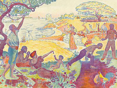 Happiness Drawing - Au Temps Dharmonie by Paul Signac