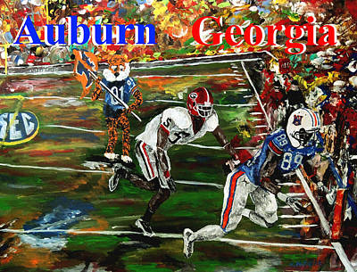 Mark Moore Painting - Auburn Georgia Football  by Mark Moore