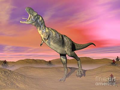 Anger Digital Art - Aucasaurus Dinosaur Roaring by Elena Duvernay