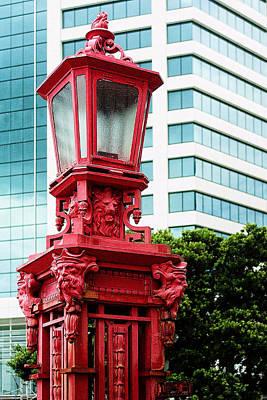 Auckland Close Up Red Lamp Original by Linda Phelps