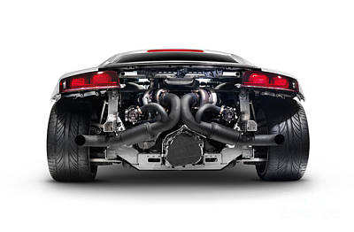 Muffler Photograph - Audi Quattro R8 Turbo Sports Car Rear View With Exposed Engine by Oleksiy Maksymenko