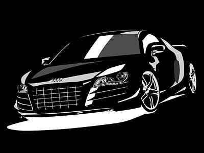 Race Digital Art - Audi R8 by Michael Tompsett