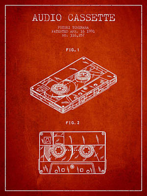 Tape Drawing - Audio Cassette Patent From 1991 - Red by Aged Pixel