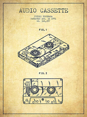 Audio Cassette Patent From 1991 - Vintage Print by Aged Pixel