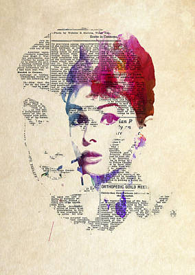 Audrey Hepburn Digital Art - Audrey Double Feature by Steve K