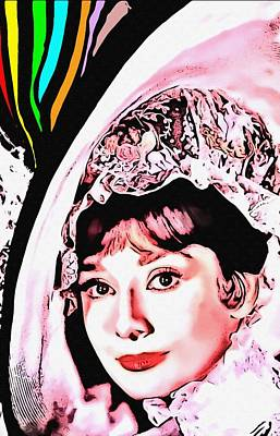 First Lady Mixed Media - Audrey Hepburn In My Fair Lady by Art Cinema Gallery