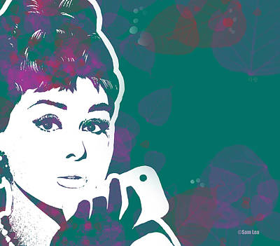 Audrey Mixed Media - Audrey Hepburn With Iphone03 by Sam Lea