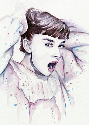 Audrey Hepburn Painting - Audrey - Purple Scream by Olga Shvartsur