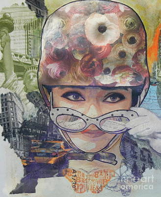 Decoupage Mixed Media - Audrey by Ruta Naujokiene