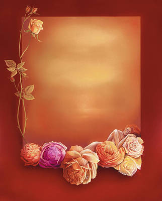 Reverse On Glass Painting - Auf Rosen Gebettet  / Bedded Of Roses by Annelie Dachsel-Widmann