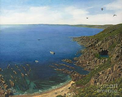 August Afternoon  Whitsand Bay From Rame Head Cornwall Print by MGL Meiklejohn Graphics Licensing