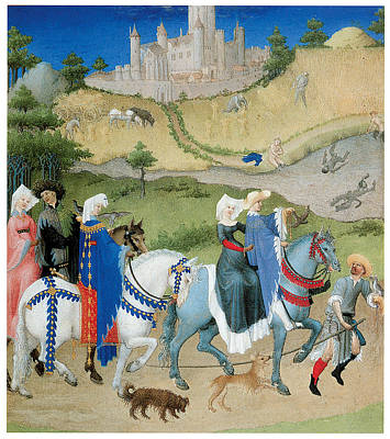 Women On Horses Painting - August From Les Tres Riches  by Limbourg Brothers