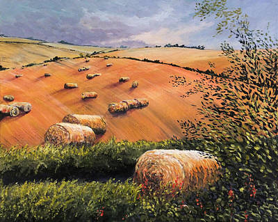 Hockney Painting - August Hay Bales On Wolds by Tony Hogan