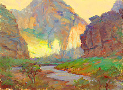 Native American Watercolor Painting - August On The Rogue River Zion by Ernest Principato
