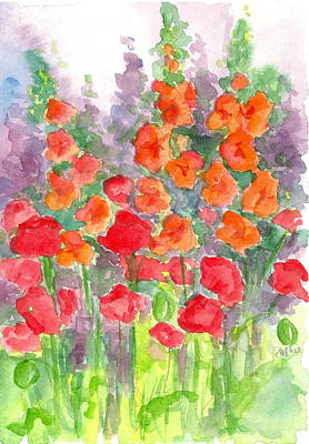Gladiolus Drawing - August Poppies by Cathie Richardson
