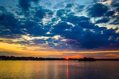 August Sunset Over Lake Nagawicka Print by Randy Scherkenbach