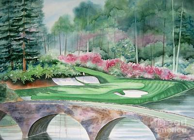 Watercolor Painting - Augusta National 12th Hole by Deborah Ronglien