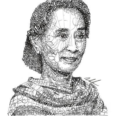 Democracy Drawing - Aung San Suu Kyi by Michael  Volpicelli