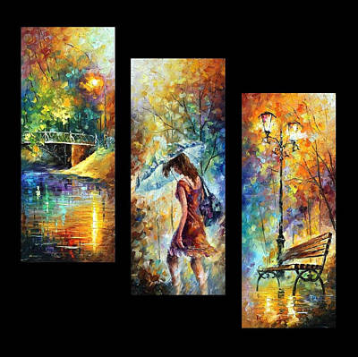 Aura Of Autumn Set Of 3 Paintings - Palette Knife Oil Painting On Canvas By Leonid Afremov Print by Leonid Afremov