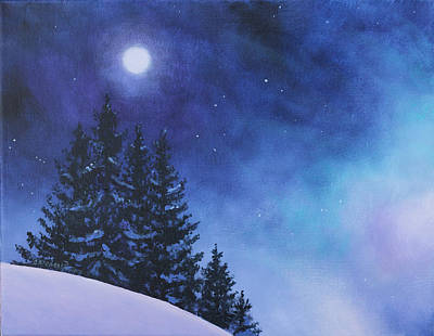 Winter Scene Artists Painting - Aurora Borealis Winter by Cecilia Brendel