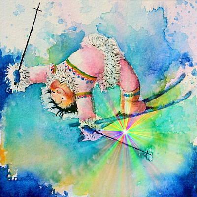 Aurora Skier Print by Hanne Lore Koehler