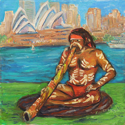 Contemporary Tribal Art Painting - Aussie Dream I by Xueling Zou