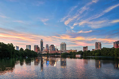 Austin Skyline Photograph - Austin Sunset On Ladybird Lake by Tod and Cynthia Grubbs