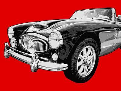 Car Digital Art - Austin Healey 3000 On Red  by Lance Vaughn