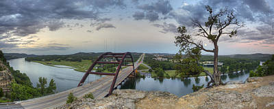 Austin Skyline Photograph - Austin Images - Pennybacker Bridge Panorama On A June Sunrise by Rob Greebon