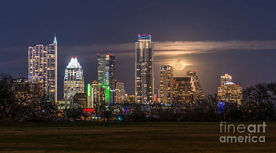 Austin Skyline Photograph - Austin Skyline Moonrise by Tod and Cynthia Grubbs