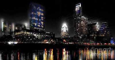 Austin Skyline Digital Art - Austin Night Skyline Reflections  by Gary Gibich