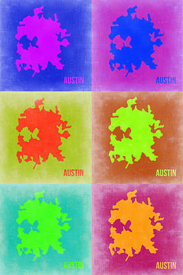 City Map Painting - Austin Pop Art Map 4 by Naxart Studio