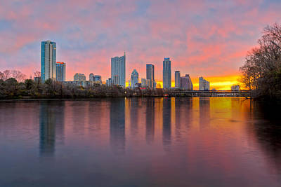 Austin Skyline Photograph - Austin Skyline December Sunrise II by Rob Greebon