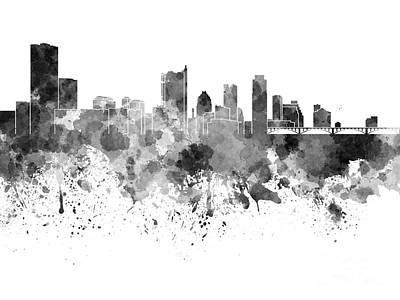 Austin Skyline Painting - Austin Skyline In Black Watercolor On White Background by Pablo Romero