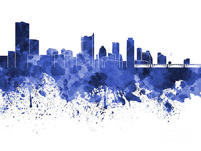Austin Skyline Painting - Austin Skyline In Blue Watercolor On White Background by Pablo Romero