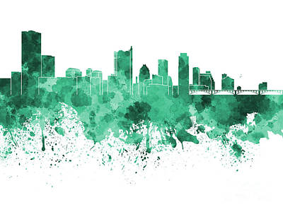 Austin Skyline Painting - Austin Skyline In Green Watercolor On White Background by Pablo Romero