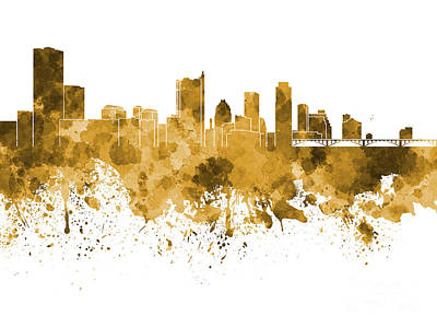 Austin Skyline Painting - Austin Skyline In Orange Watercolor On White Background by Pablo Romero