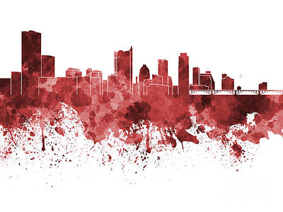 Austin Skyline Painting - Austin Skyline In Red Watercolor On White Background by Pablo Romero
