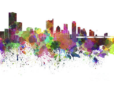 Austin Skyline Painting - Austin Skyline In Watercolor On White Background by Pablo Romero