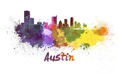 Austin Skyline Painting - Austin Skyline In Watercolor by Pablo Romero