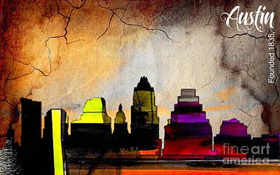 Austin Skyline Mixed Media - Austin Skyline Watercolor by Marvin Blaine