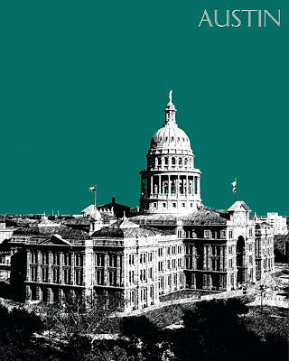 Austin Skyline Digital Art - Austin Texas Capital - Sea Green by DB Artist