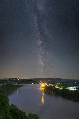 Austin Skyline Photograph - The 360 Bridge And Austin Skyline Under The Milky Way by Rob Greebon