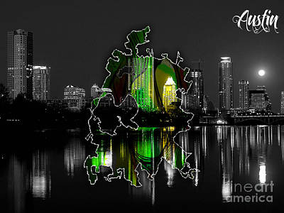 Austin Skyline Mixed Media - Austin Texas Map And Skyline Watercolor by Marvin Blaine