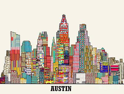 Austin Skyline Mixed Media - Austin Texas Skyline by Bri B