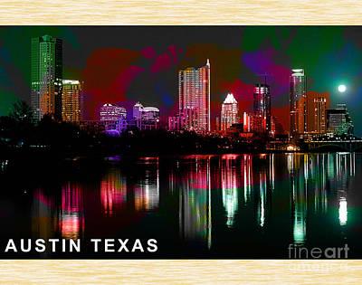 Austin Skyline Mixed Media - Austin Texas Skyline by Marvin Blaine