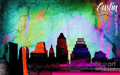 Austin Skyline Mixed Media - Austin Texas Skyline Watercolor by Marvin Blaine