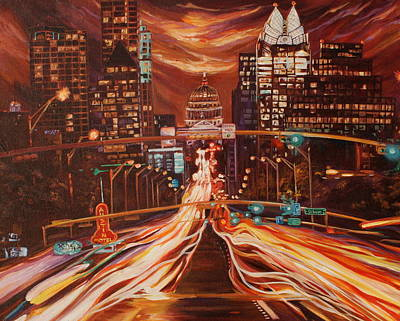 Austin Skyline Painting - Austin Unplugged by Suzanne King