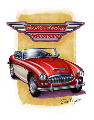 1960s Digital Art - Austin3000-red-wht by David Kyte